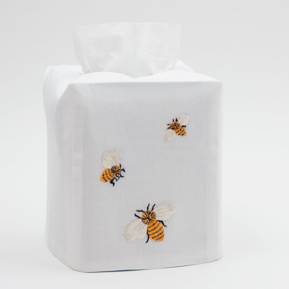 Bees<br>Tissue Box Cover - White Cotton