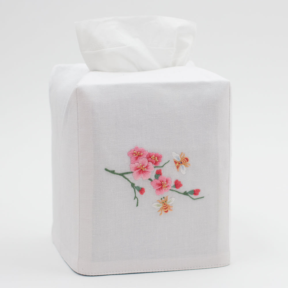 Bees & Flowers<br>Tissue Box Cover - White Cotton