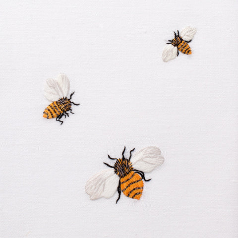 Bees<br>Everyday Towel - White Cotton