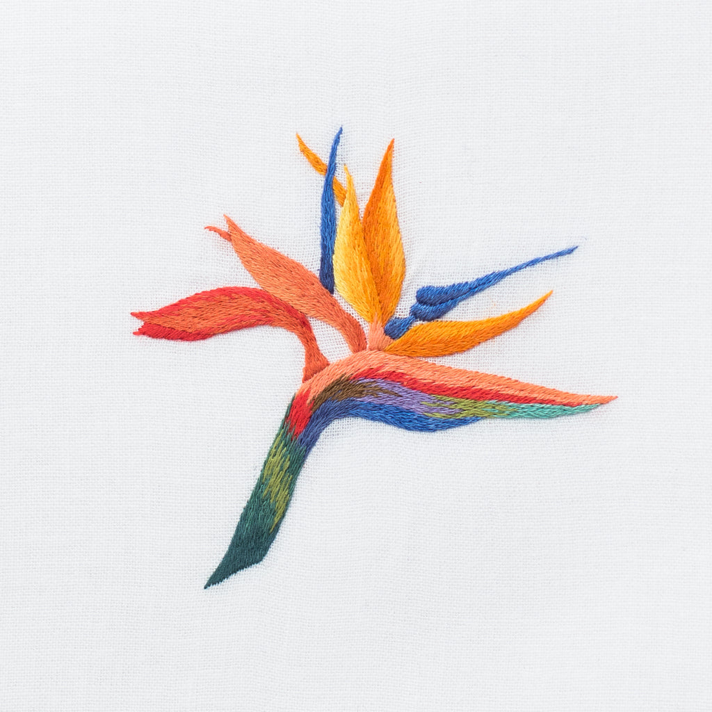Bird of Paradise<br>Hand Towel - White Cotton