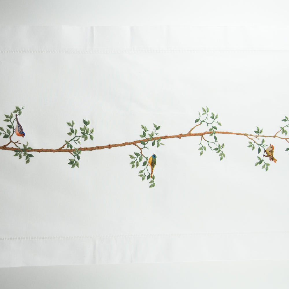 Bird & Tree<br>Table Runner - White Cotton