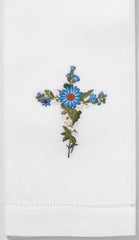 Blue Daisy Cross<br>Hand Towel - White Cotton