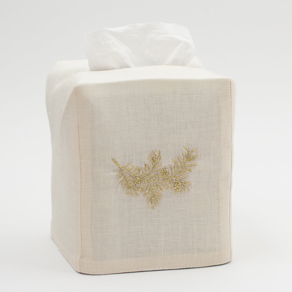 Bough Glitter Ivory<br>Tissue Box Cover - Ivory Linen