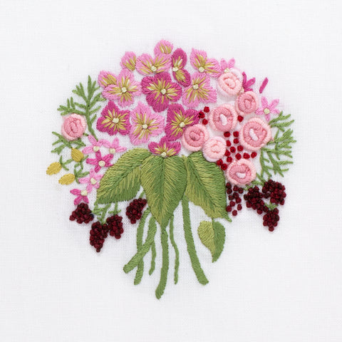 Bouquet Pink<br>Hand Towel - White Cotton