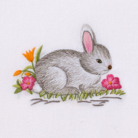 Bunny Gray<br>Hand Towel - White Cotton