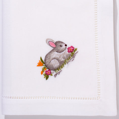 Bunny Gray<br>Napkin - White Cotton