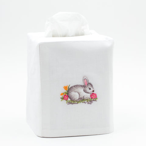 Bunny Gray<br>Tissue Box Cover - White Cotton