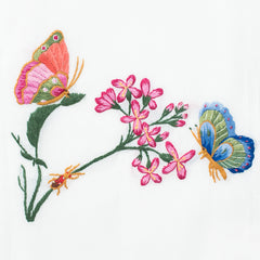 Butterflies & Flowers<br>Hand Towel - White Cotton