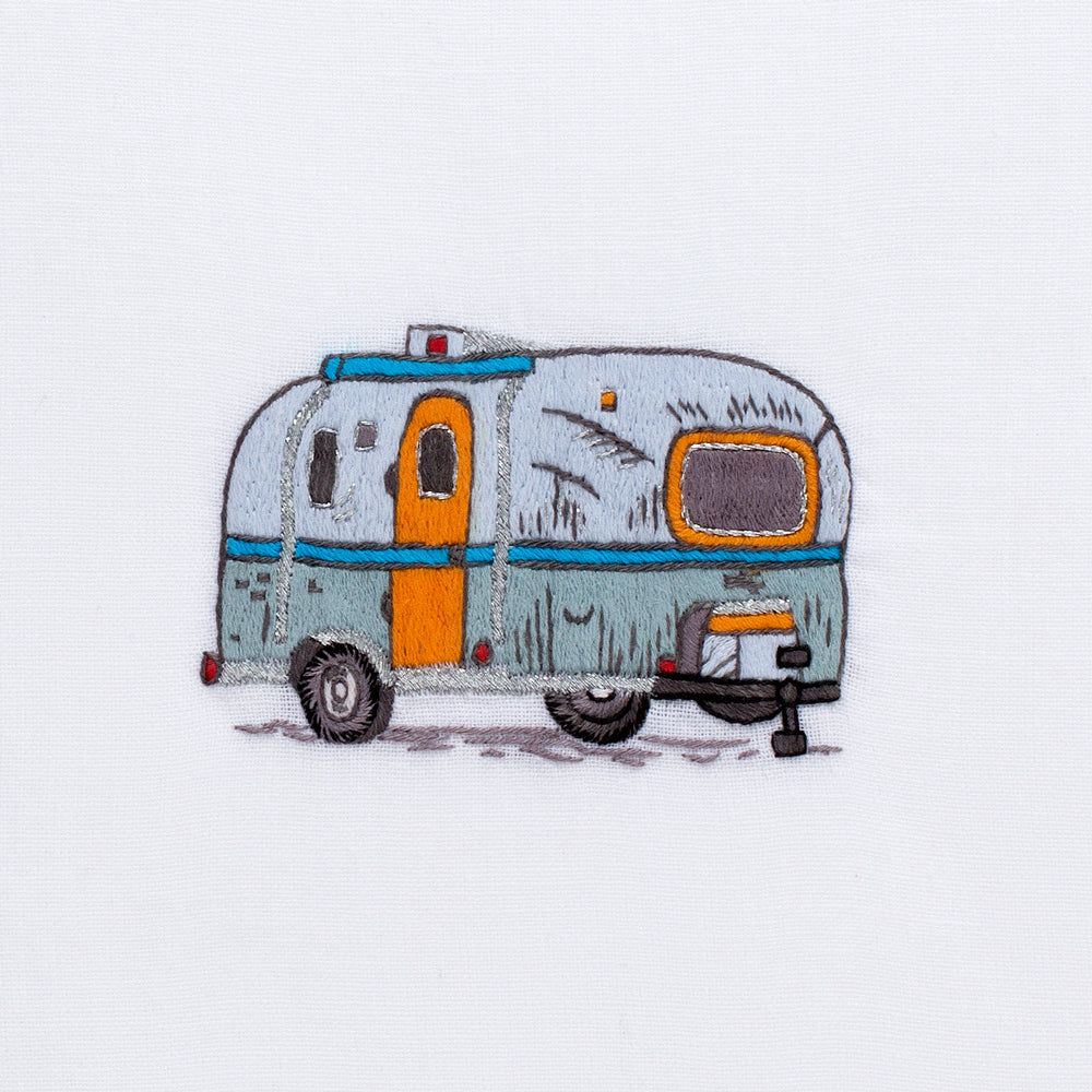 Camper Vintage<br>Hand Towel - White Cotton