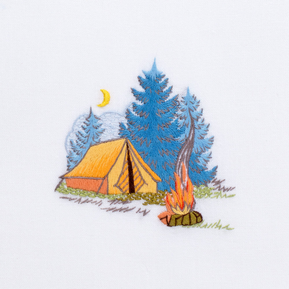 Camping<br>Hand Towel - White Cotton