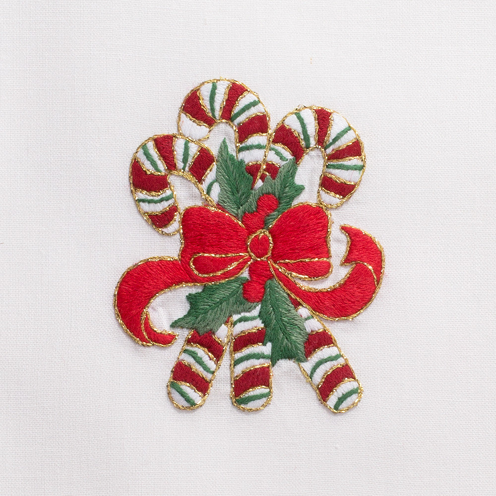 Candy Canes<br>Hand Towel - White Cotton