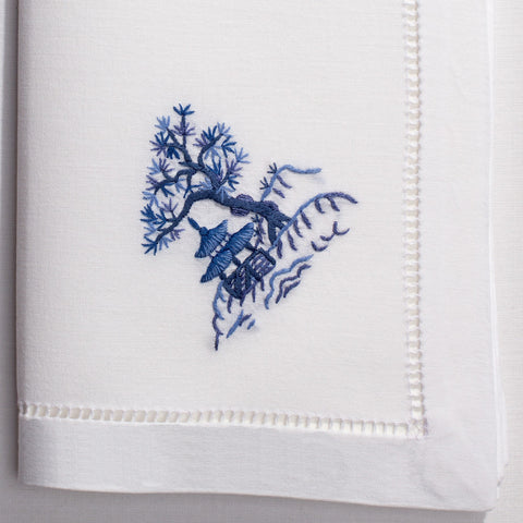 Canton Blue<br>Napkin - White Cotton