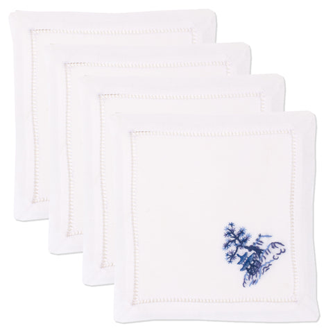 Canton Blue<br>Cocktail Set - White Cotton
