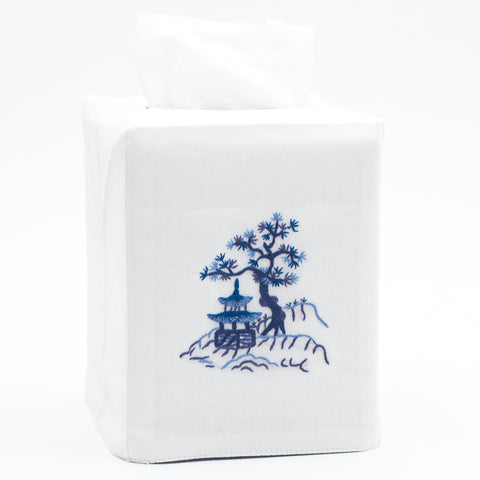 Canton Blue<br>Tissue Box Cover - White Cotton