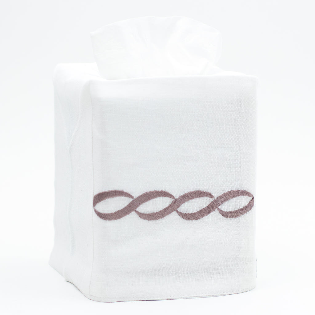 Greenwich Chain<br>Tissue Box Cover - Italian Linen<br>8 Colors