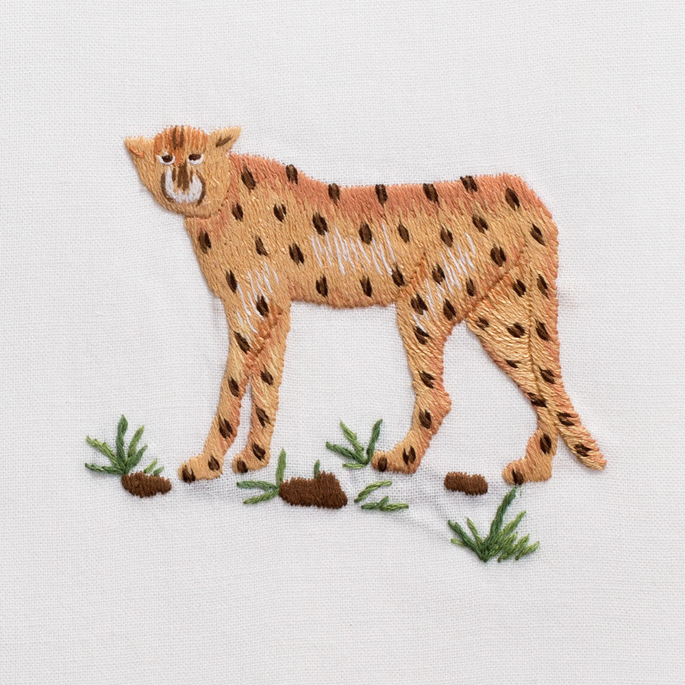 Cheetah<br>Hand Towel - White Cotton