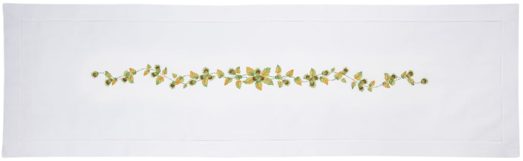 Chestnut<br>Table Runner - White Cotton