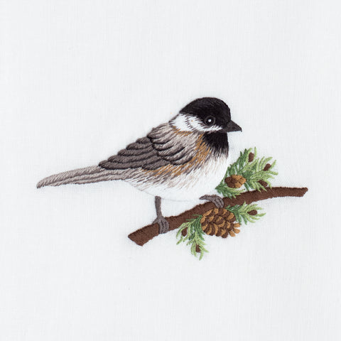 Chickadee<br>Hand Towel - White Cotton
