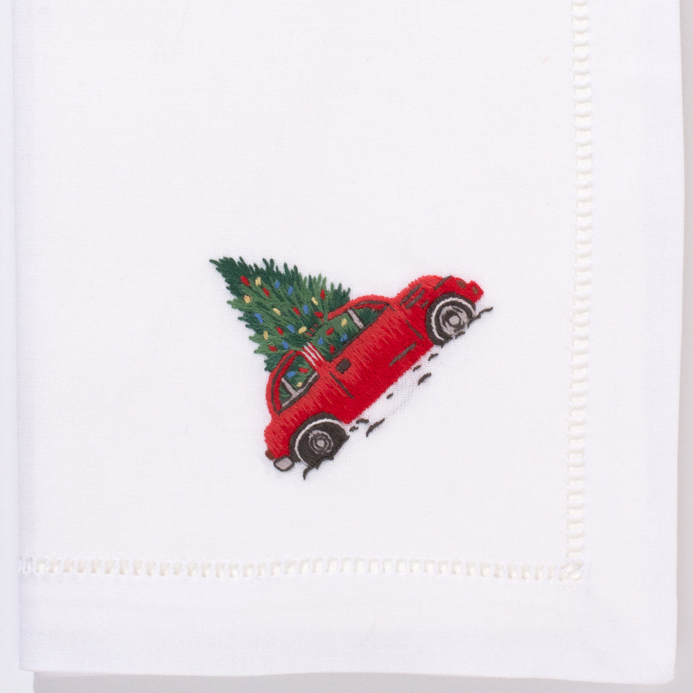 Christmas Tree Car<br>Napkin - White Cotton
