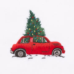 Christmas Tree Car<br>Hand Towel - White Cotton