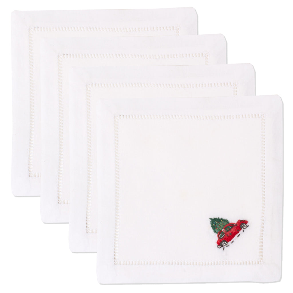 Christmas Tree Car<br>Cocktail Set - White Cotton