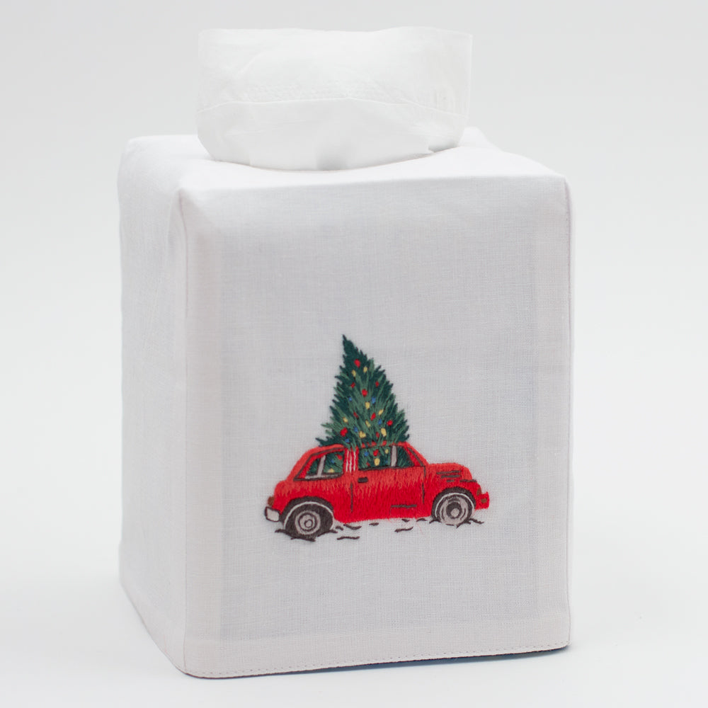 Christmas Tree Car<br>Tissue Box Cover - White Cotton