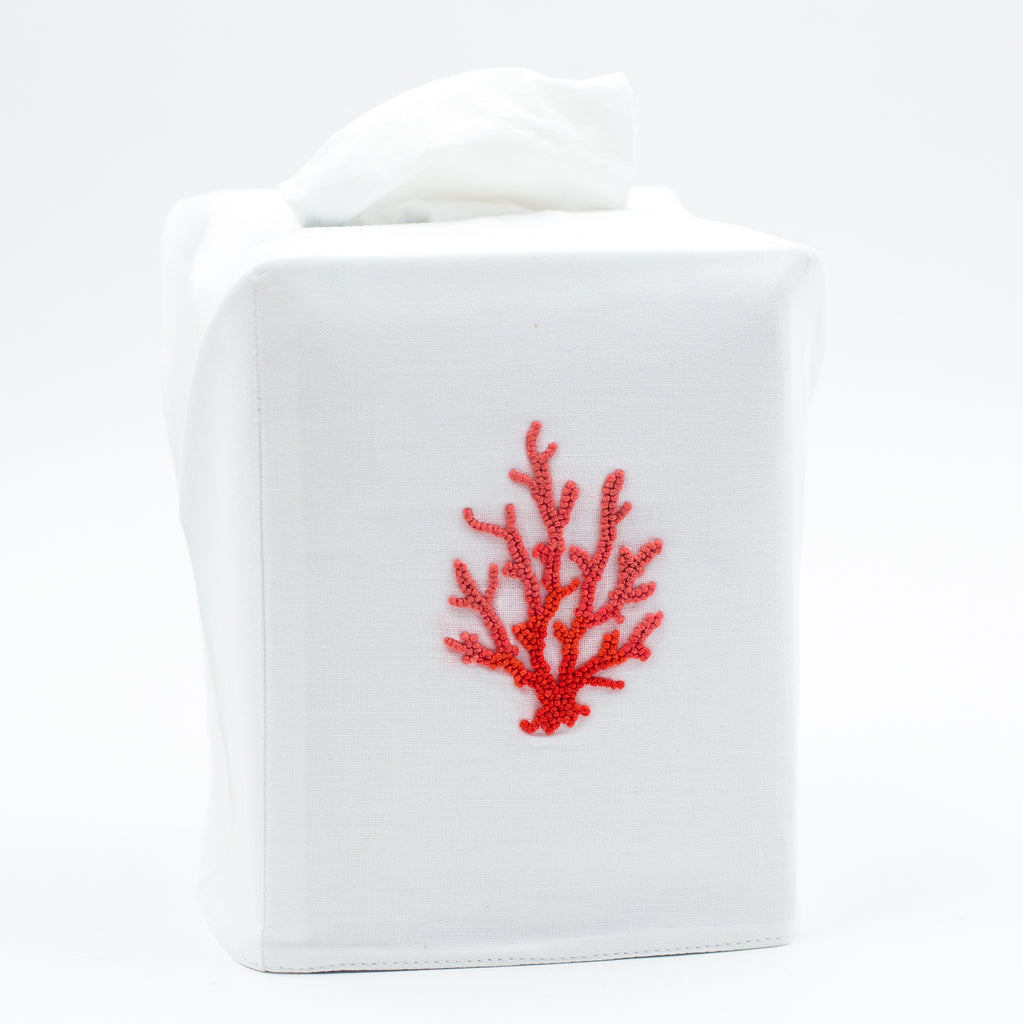 Coral Knot Red<br>Tissue Box Cover - White Cotton