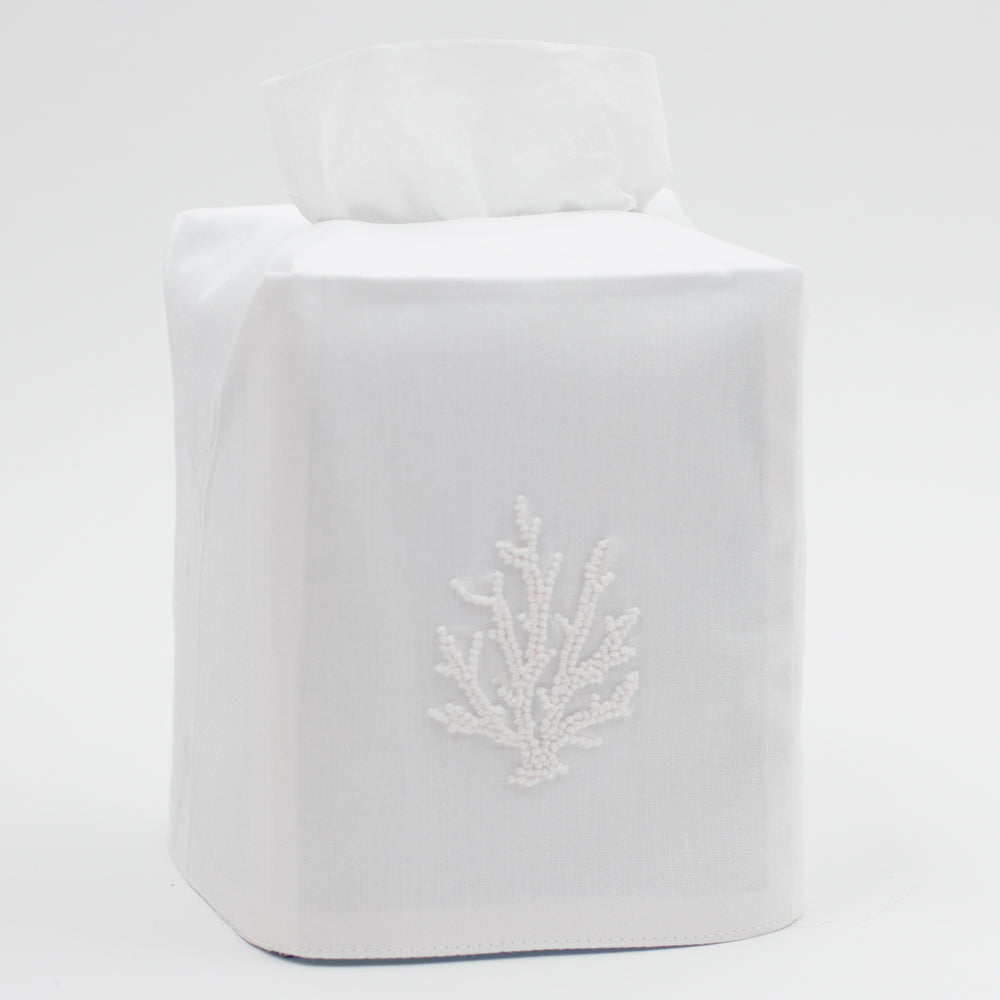 Coral Knot White<br>Tissue Box Cover - White Cotton