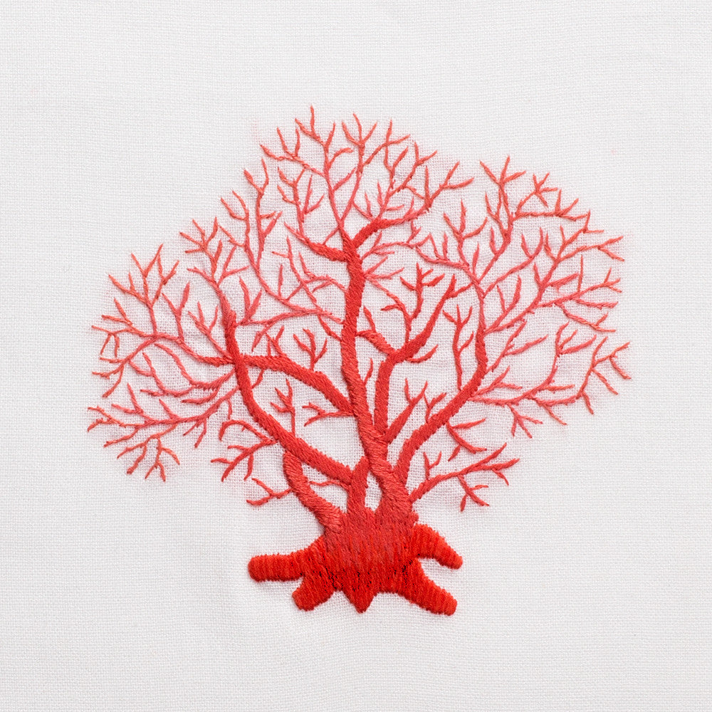 Coral Red<br>Hand Towel - White Cotton