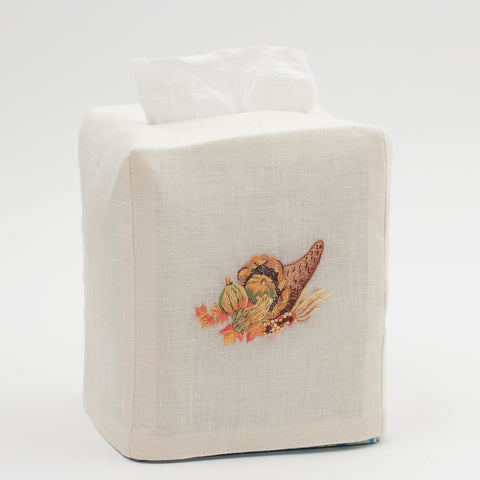 Cornucopia Grande<br>Tissue Box Cover - Ivory Linen<br>48 In Stock