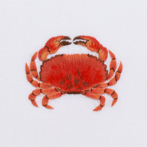 Crab Modern<br>Hand Towel - White Cotton