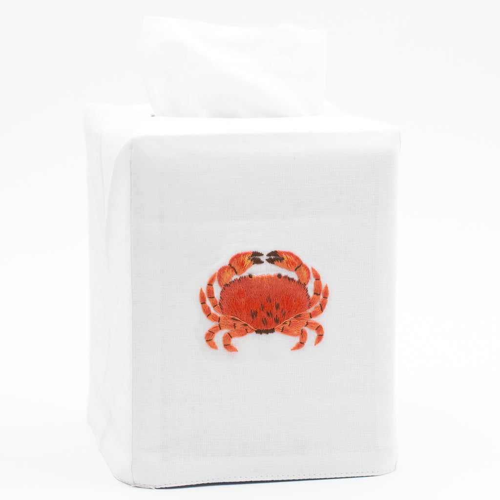 Crab Modern<br>Tissue Box Cover - White Cotton