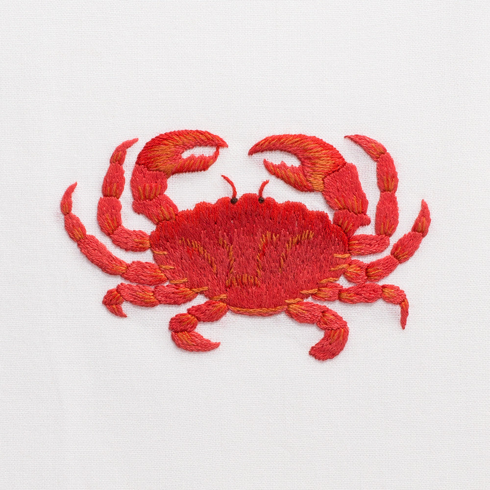 Crab Red<br>Hand Towel - White Cotton