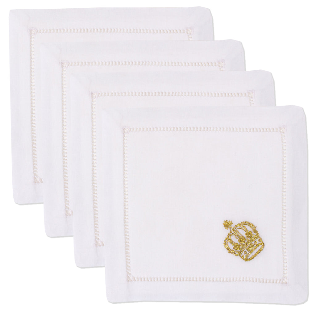 Crown Gold<br>Cocktail Set - White Cotton