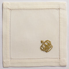 Crown Gold<br>Cocktail Set - Ivory Cotton<br> 45 In Stock