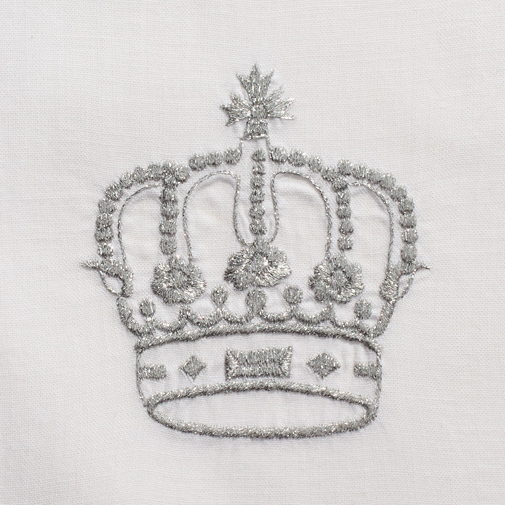 Crown Silver<br>Hand Towel - White Cotton
