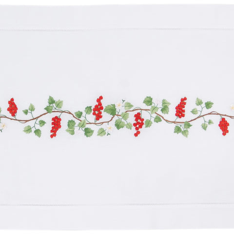 Red Currant<br>Table Runner - White Cotton