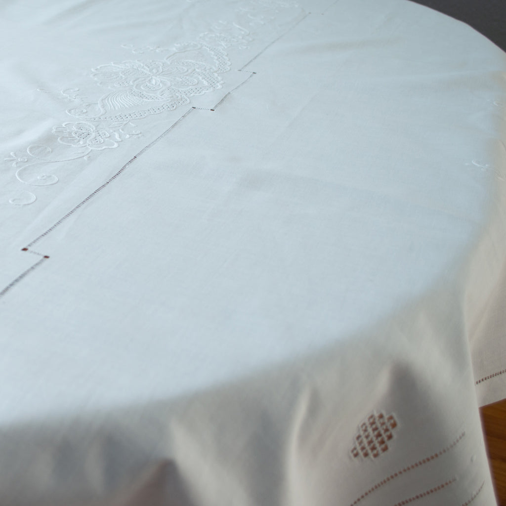 Cutwork and Embroidery Cotton Tablecloth