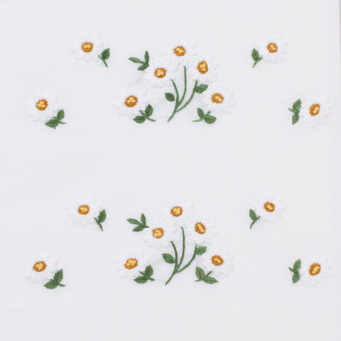 Daisies Scatter<br>Hand Towel - White Cotton