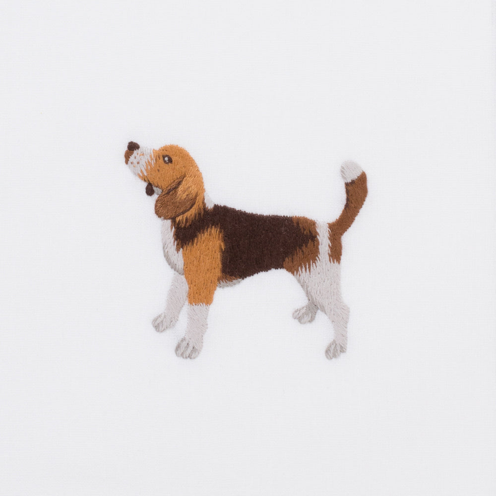 Dog Beagle<br>Hand Towel - White Cotton