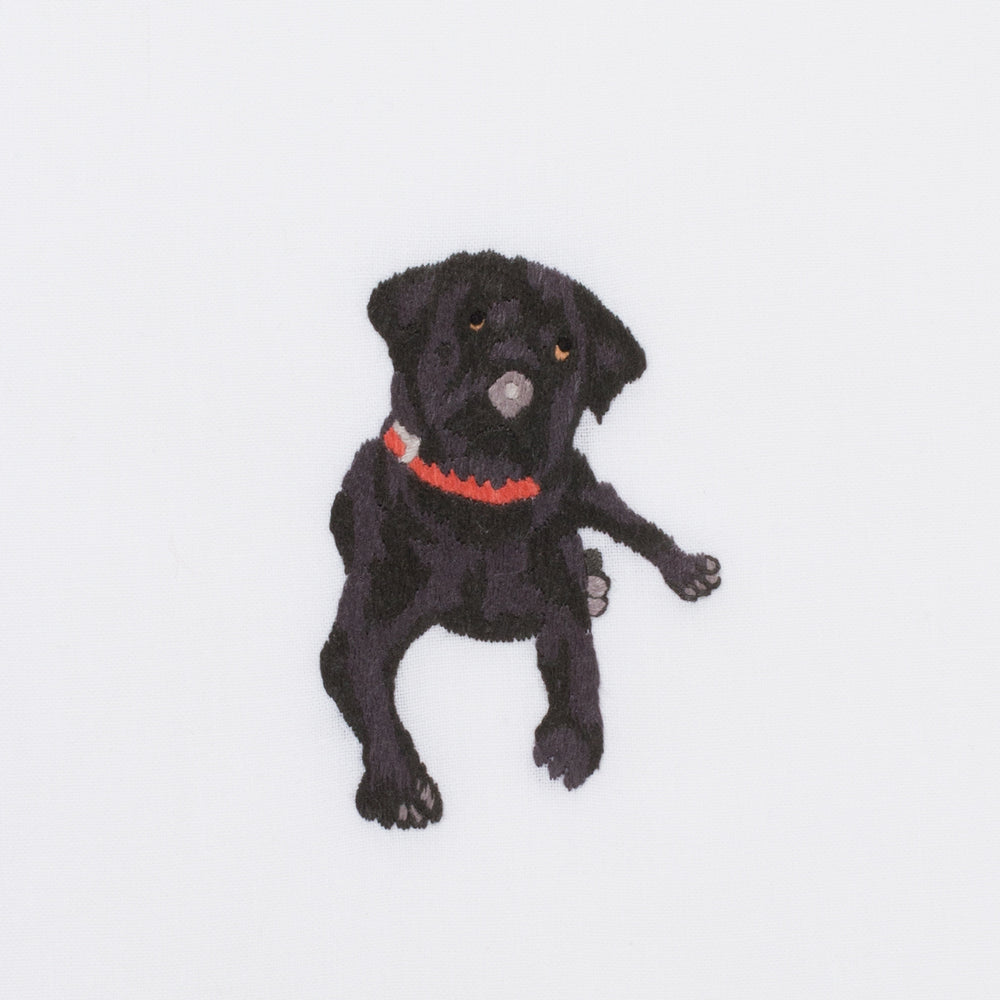 Dog Black Lab<br>Hand Towel - White Cotton