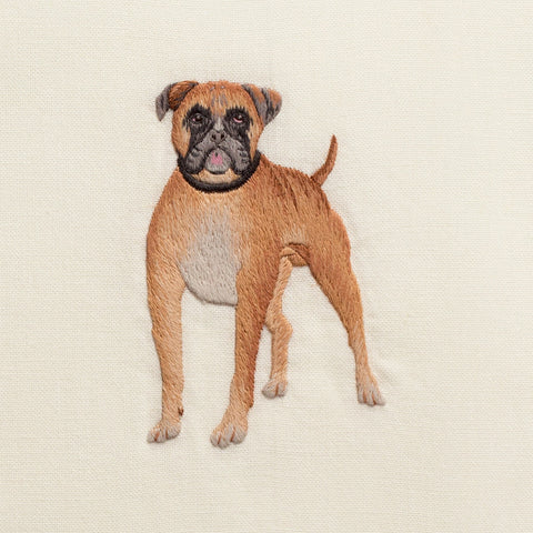 Dog Boxer<br>Hand Towel - Ivory <br> 50+ In Stock
