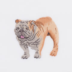 Dog Bulldog<br>Hand Towel - White Cotton