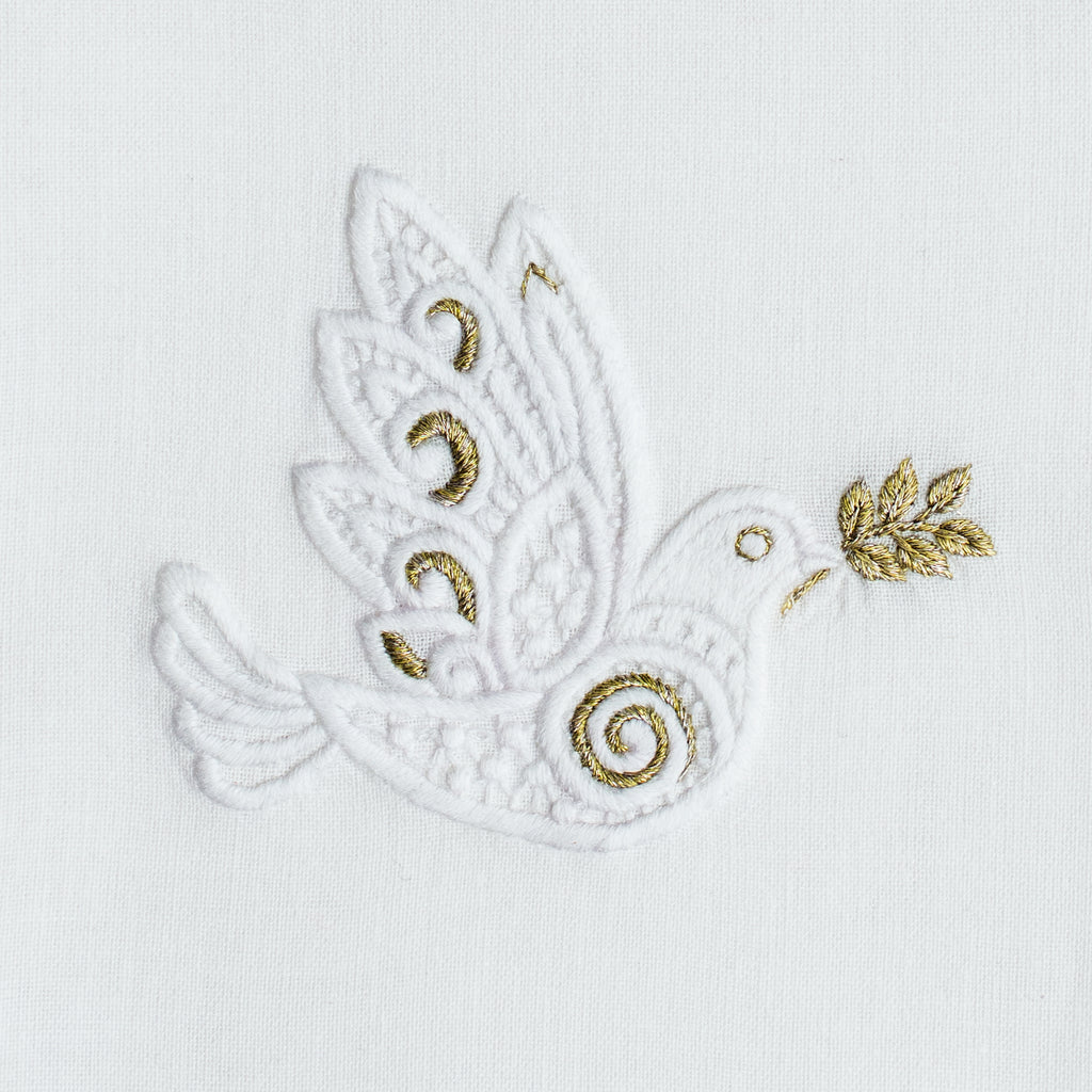 Dove White & Gold<br>Hand Towel - White Cotton