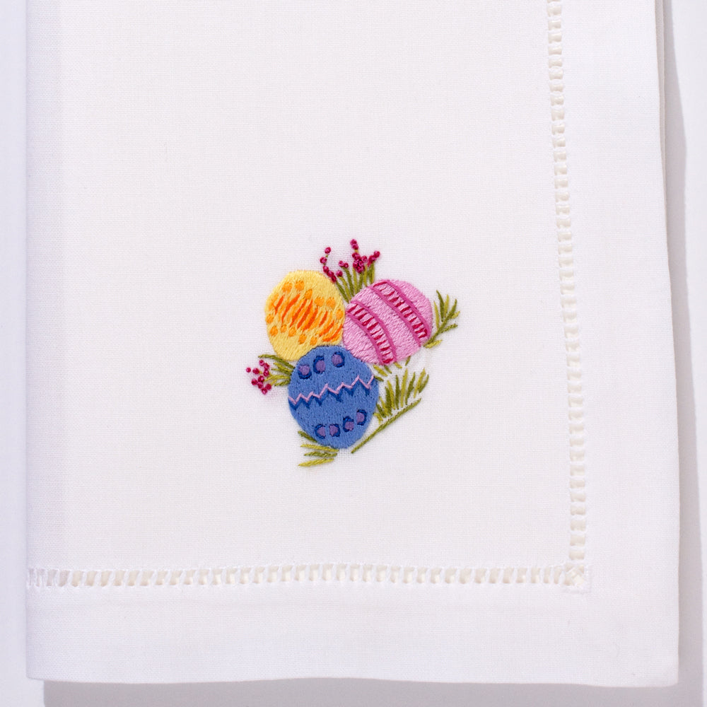 Easter Eggs<br>Napkin - White Cotton