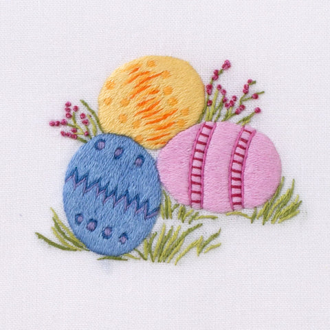 Easter Eggs<br>Hand Towel - White Cotton