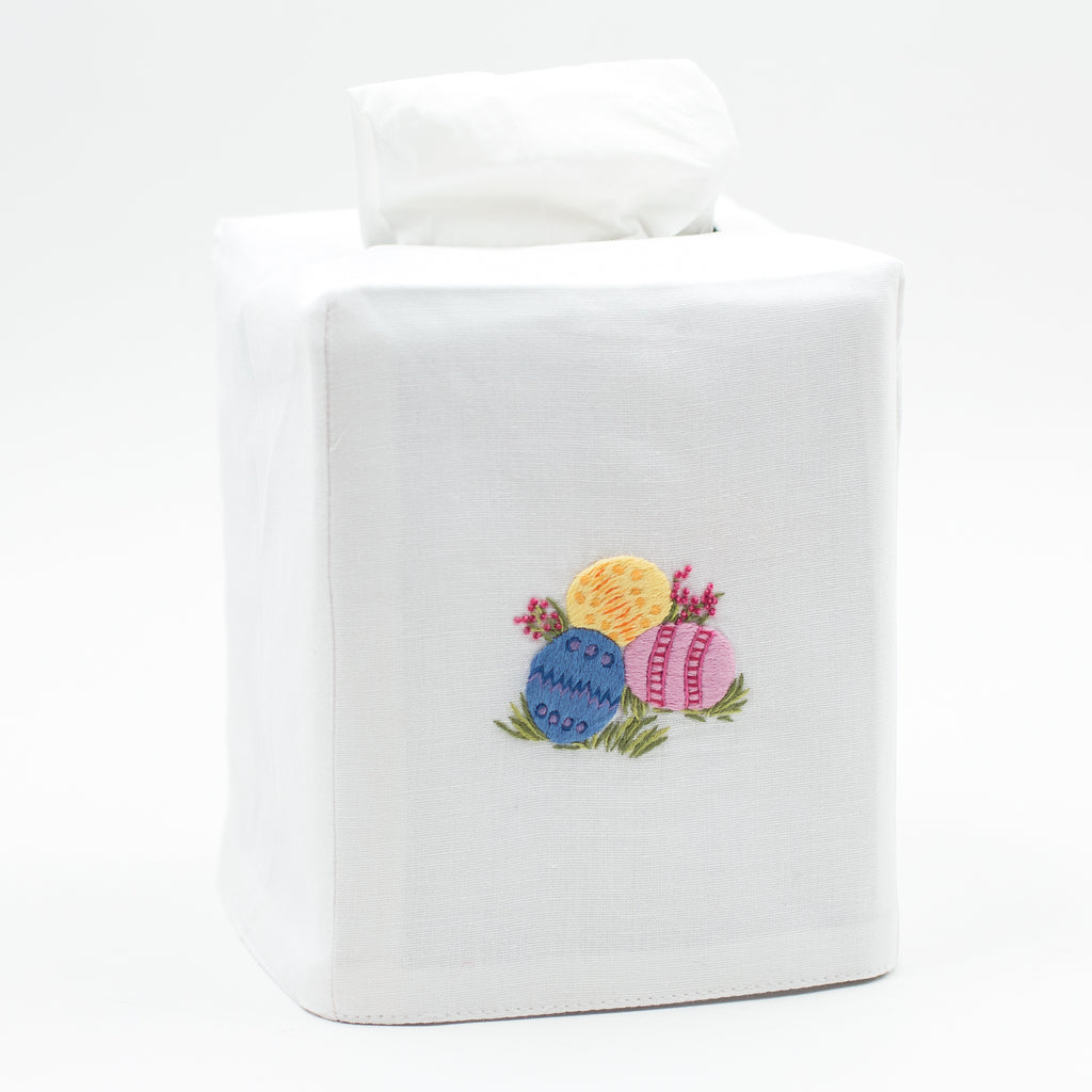 Easter Eggs<br>Tissue Box Cover - White Cotton
