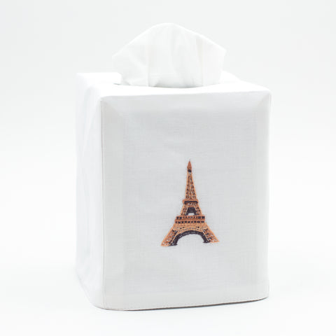 Eiffel Tower<br>Tissue Box Cover - White Cotton