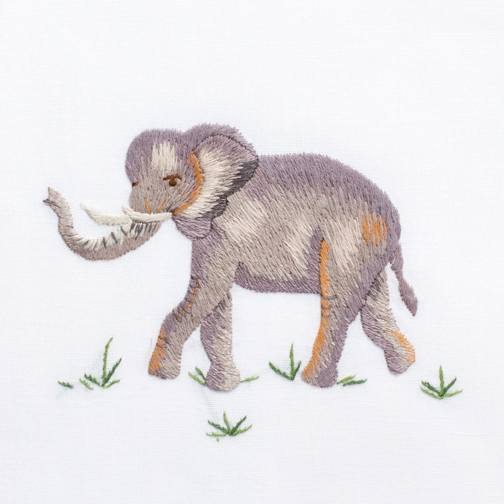 Elephant<br>Hand Towel - White Cotton
