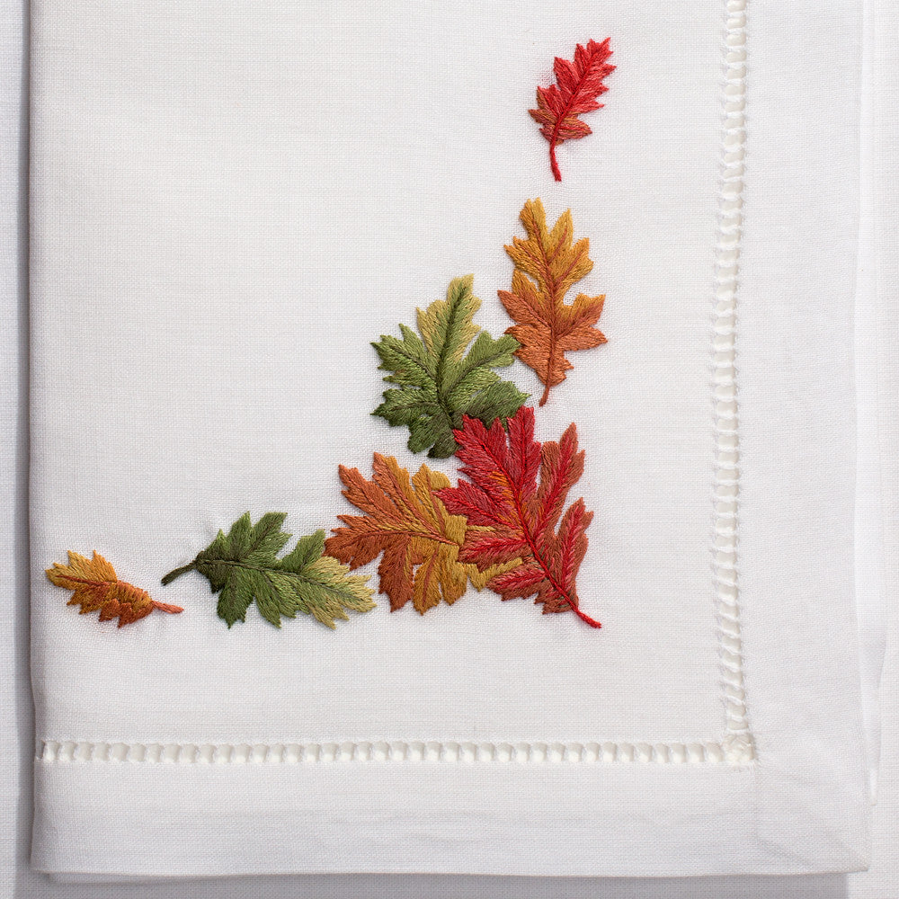 Fall Leaves<br>Napkin - White Cotton